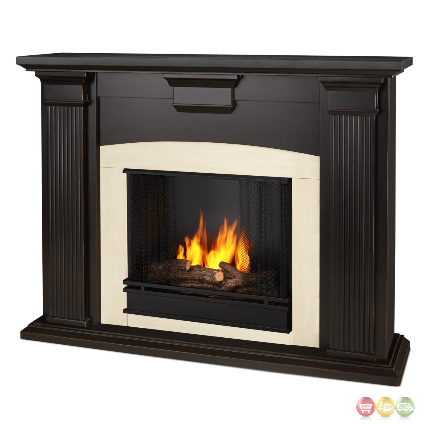 Ventless Fireplace: Adelaide Ventless Gel Fireplace In Antique Blackwash With