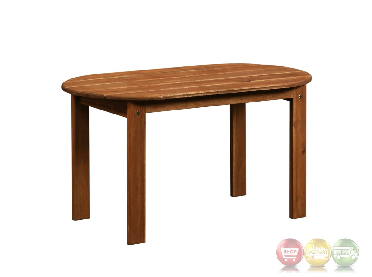 Adirondack Outdoor Teak Coffee Table With Solid Wood Construction