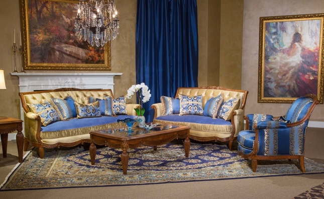 Adriana Royal Rococo Blue & Beige Tufted Sofa & Loveseat in Cognac