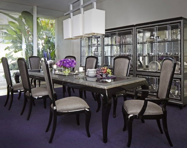 Michael Amini After Eight 5 Piece Formal Dining Room Set Black Onyx by AICO