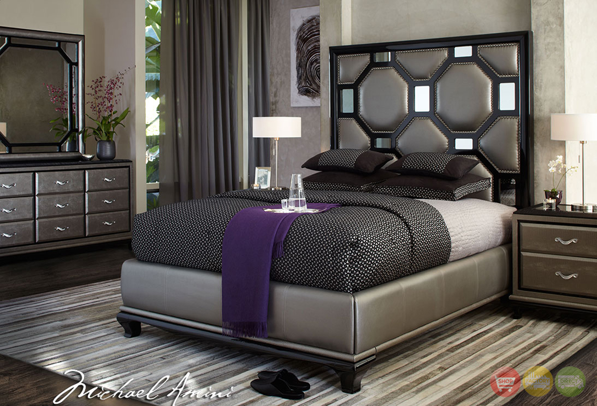 ... Modern Upholstered Bedroom Furniture Set Black Onyx Finish by AICO