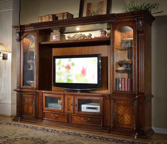 "Agean Traditional 62"" Entertainment Center Wall Unit In Rich Wood Finish"