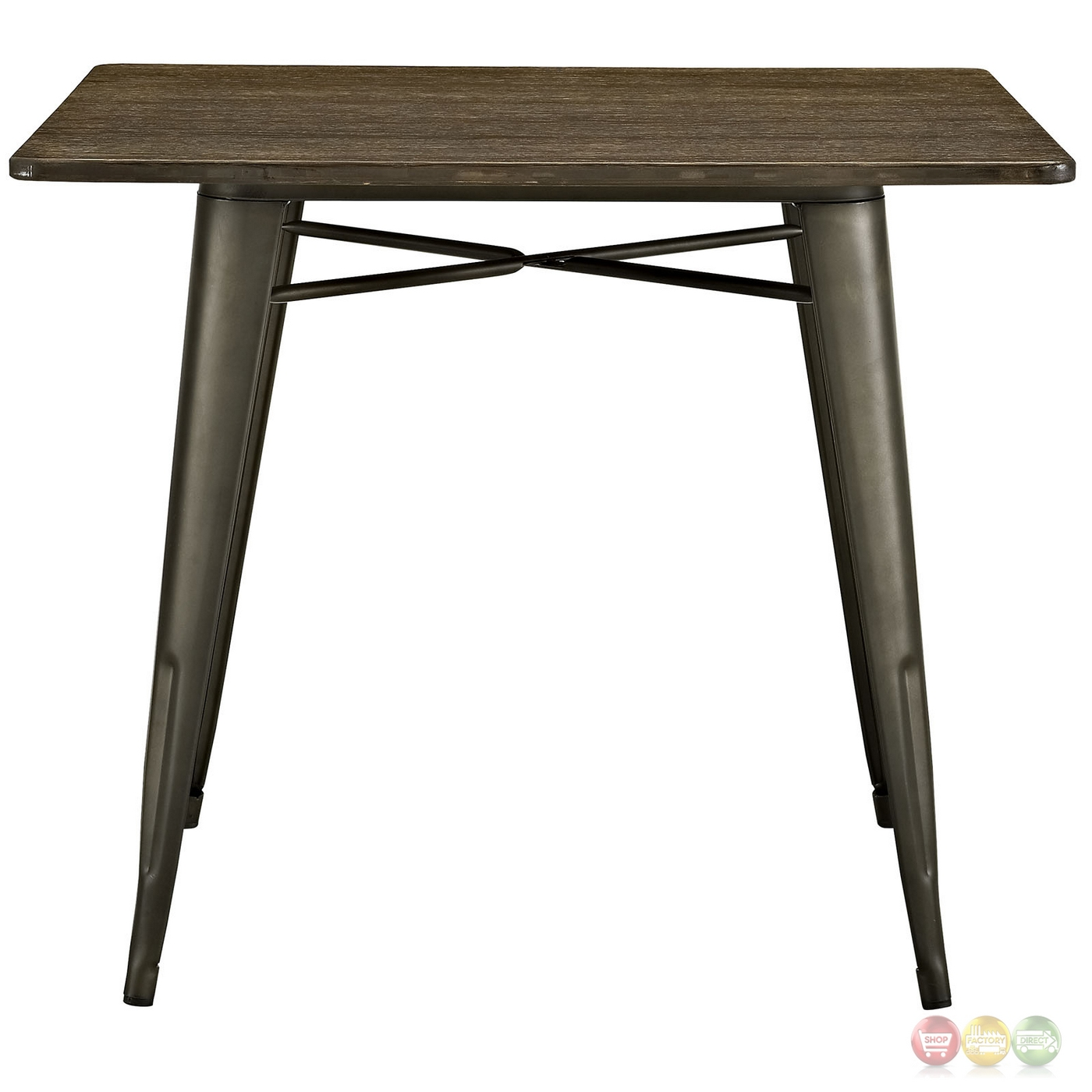 Superb img of  Industrial 36 Square Wood Dining Table With Steel Legs Brown with #963537 color and 1400x1400 pixels