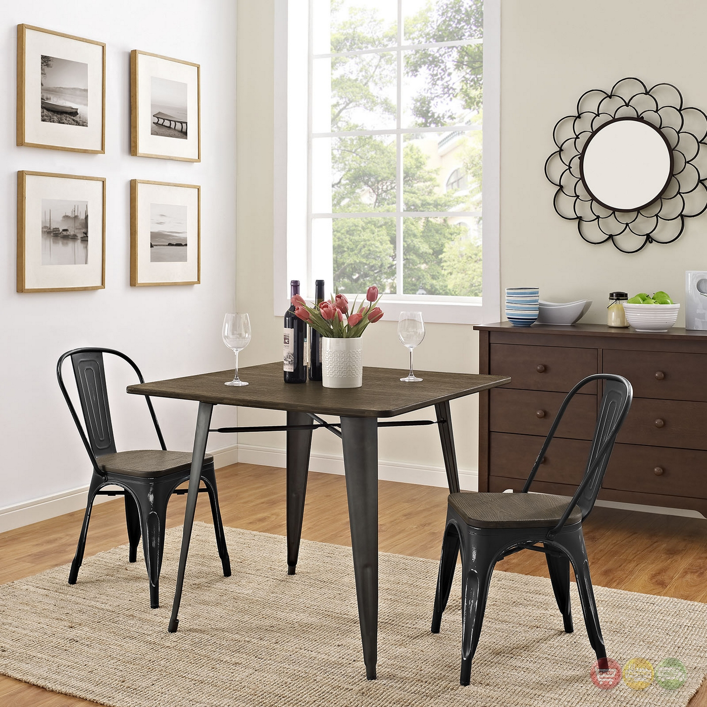 """Square Rectangular Modern Dining Table Legs Industrial: Alacrity Industrial 36"""" Square Wood Dining Table With"""