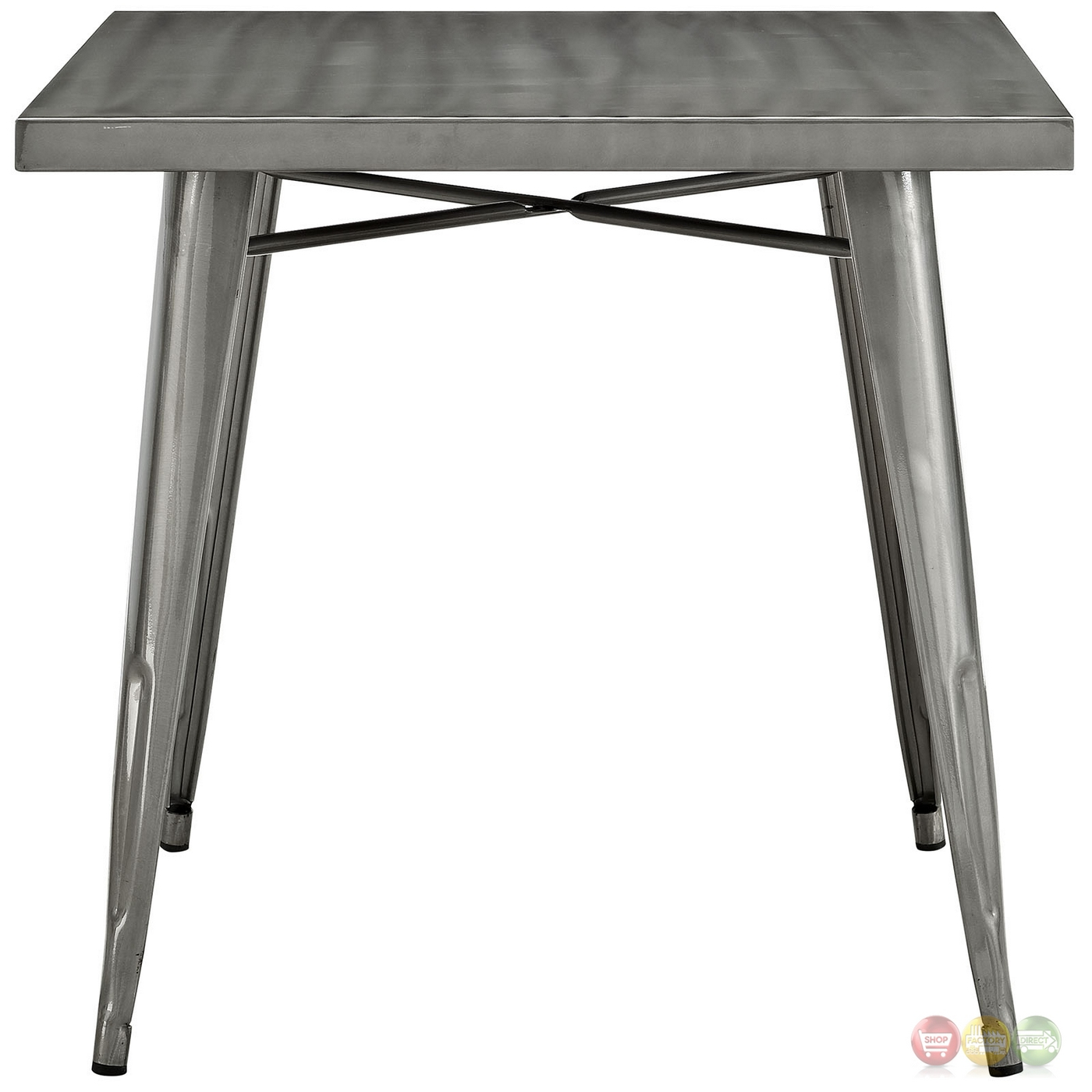 Alacrity Modern Industrial 32 Steel Square Dining Table Gunmetal