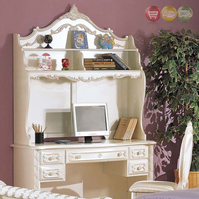 Alexandria Pearl White Ornate Traditional Desk, Hutch & Chair