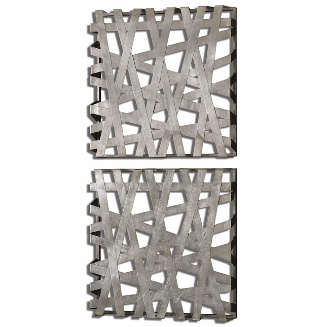 Alita Squares Contemporary Bright Silver Leaf Wall Art  07676