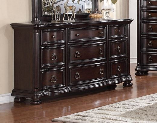 Allison Full Extension 9-Drawer Dresser In Traditional Dark Brown