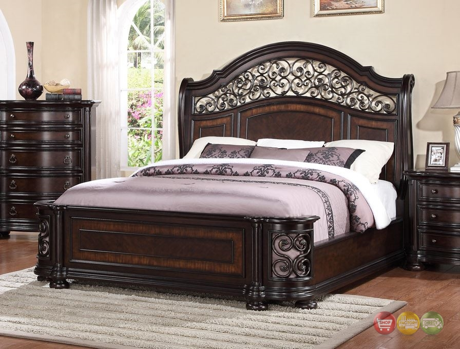 Allison Wrought Iron And Wood King Sleigh Bed In Dark Brown