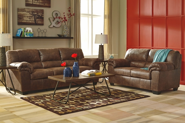 Caden Coffee Brown Leather Like Sofa & Loveseat Living Room Set