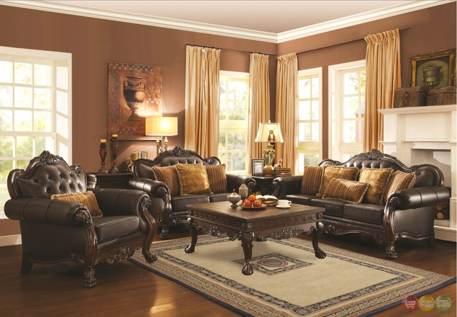 Amairani Traditional Dark Brown Faux Leather Sofa And