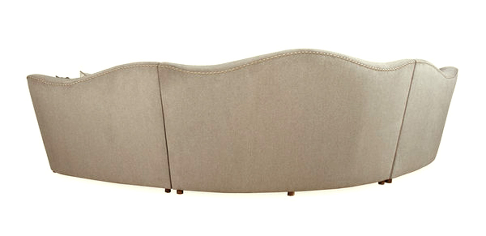 Amanda Transitional Curved Ivory Sectional Sofa W Loose