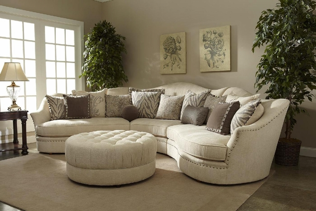 Amanda Transitional Curved Ivory Sectional Sofa w/ Loose Pillow Back