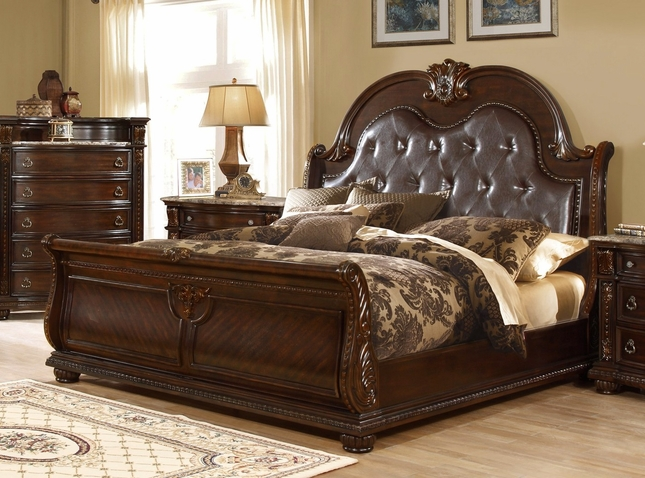 Amber French Provincial Sleigh California King Bed In Dark Cherry Finish