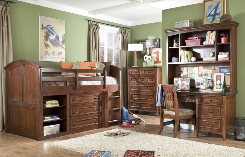 American Spirit Brown Cherry Finish Twin Mid Loft Youth Bed