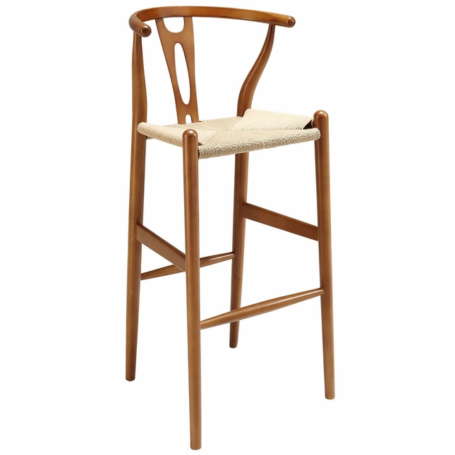 Amish Contemporary Solid Wood Bar Stool With Twined Seating, Walnut