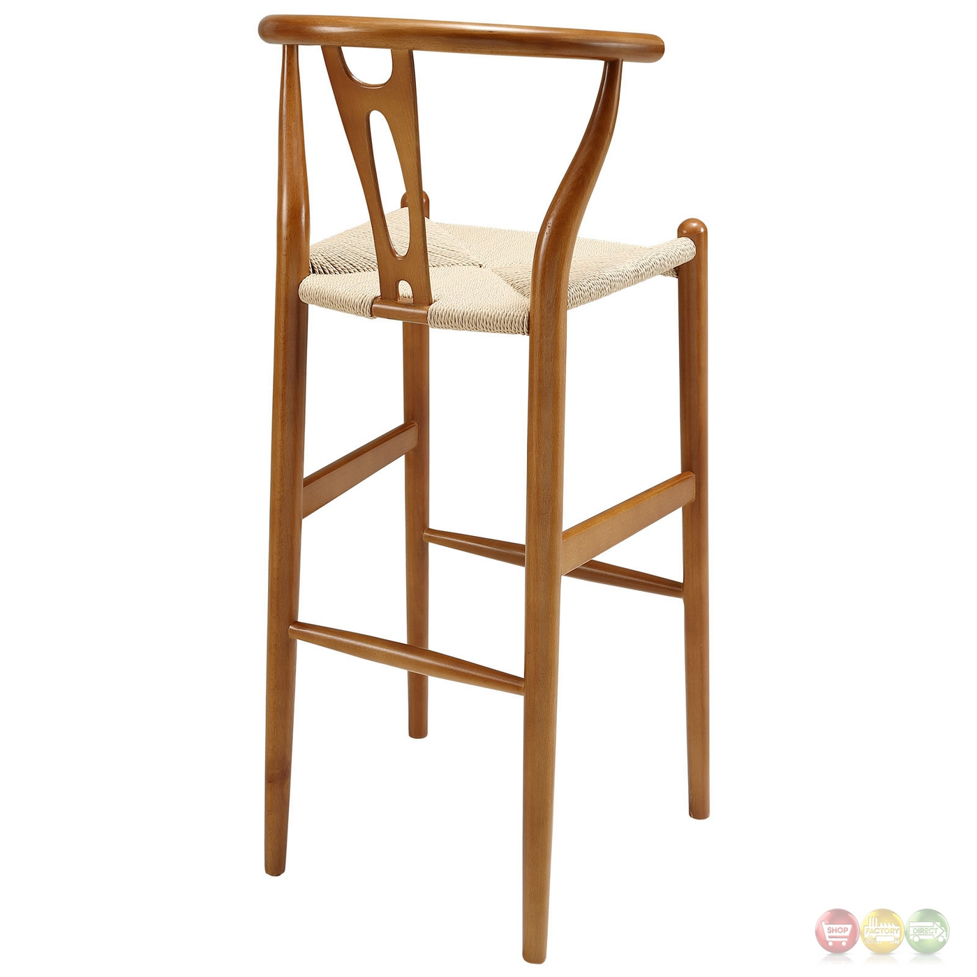 Amish Contemporary Solid Wood Bar Stool With Twined