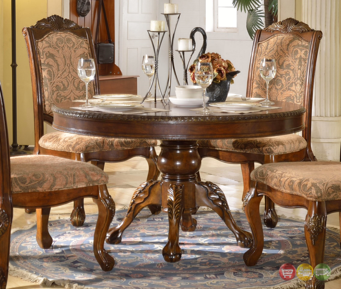 "Andrea Cherry Finish Formal Dining Room Table Set: Andrea Formal 54"" Round Dining Table With Traditional"