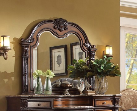 Angelina Traditional Mirror In Two-tone Wood Finish W/ Carved Details