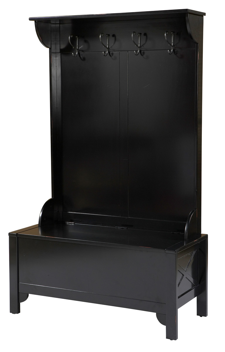 Anna Black Finish Hall Tree with Storage Bench
