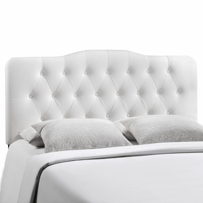 Annabel Faux Leather Button-tufted Arched King Headboard, White
