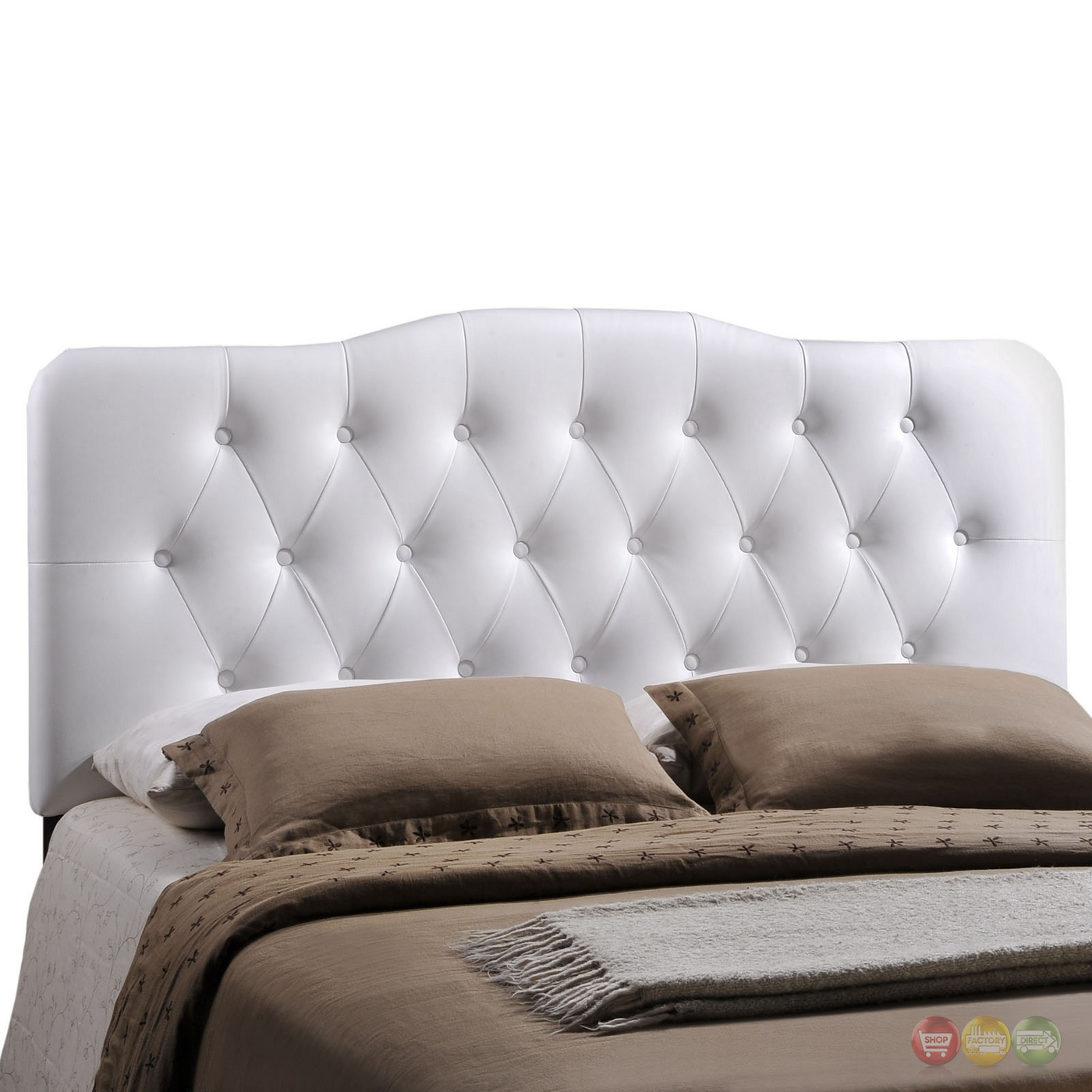 Annabel Faux Leather Button Tufted Arched Queen Headboard