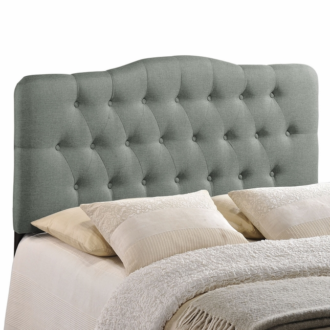 Annabel Modern Fabric Button-tufted Arched King Headboard, Gray
