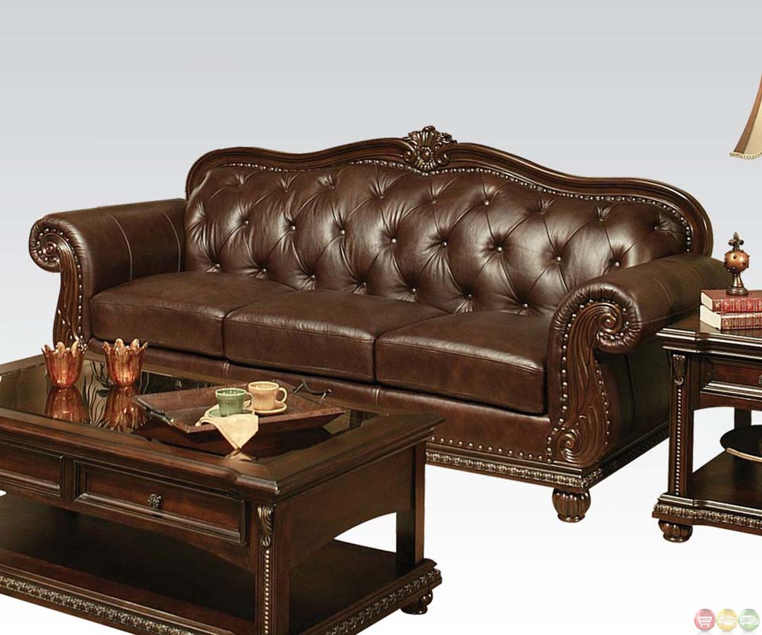 Leather Couch: Anondale Brown Button Tuft Leather Upholstery Sofa Set