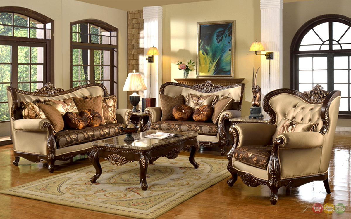 Antique style traditional wing back formal living room furniture set tan brown