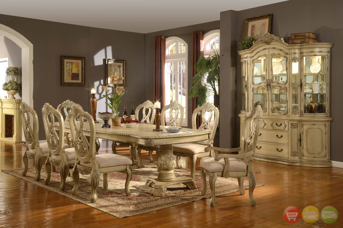 antique white traditional formal dining room furniture set