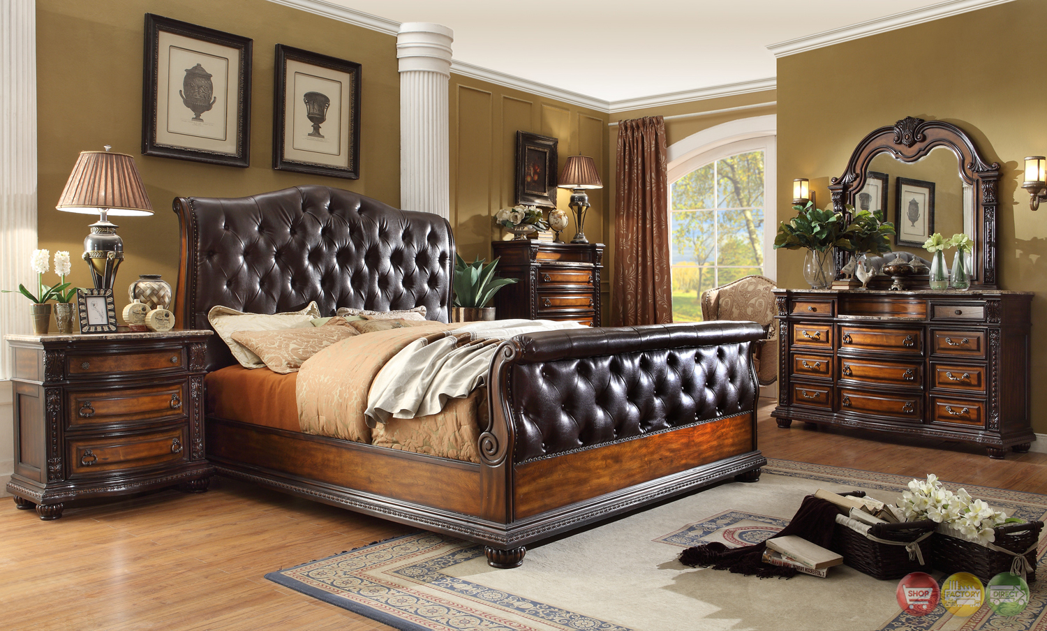 angelina antique brown button tufted leather bedroom set marble tops