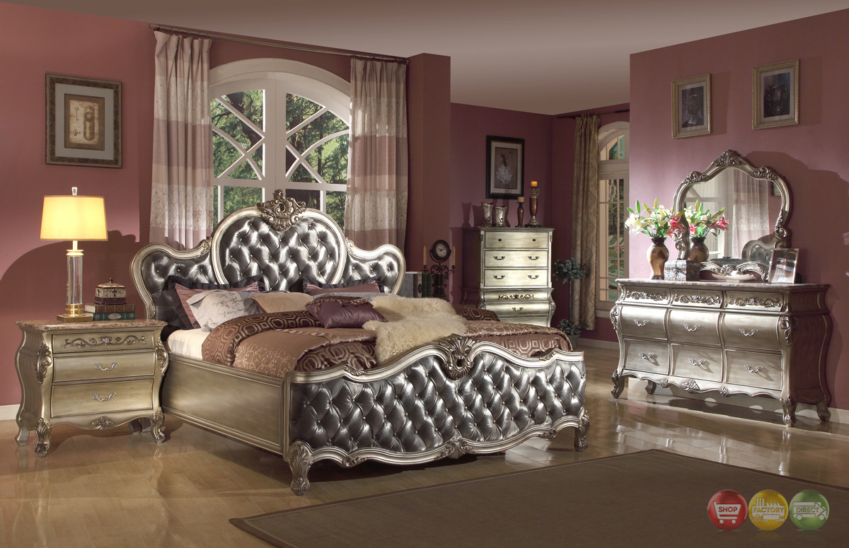 upholstered bed traditional bedroom set platinum finish w marble tops