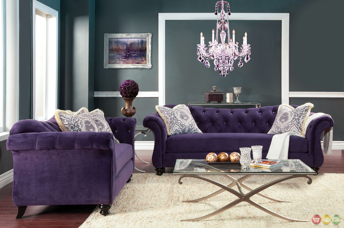 Antoinette crystal button tufted transitional purple sofa set