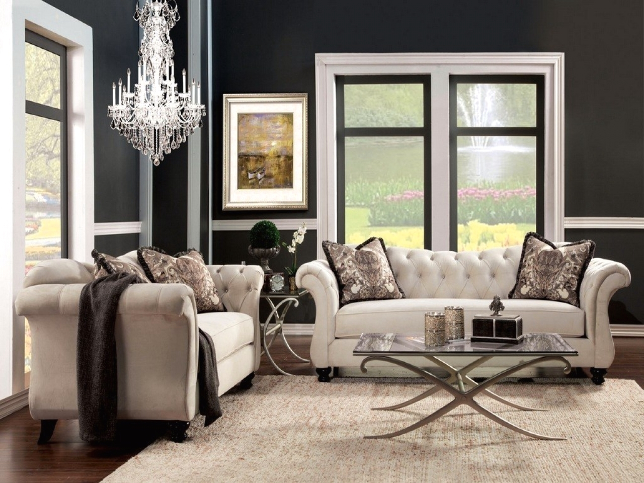 Antoinette Crystal Button Tufted Transitional Living Room