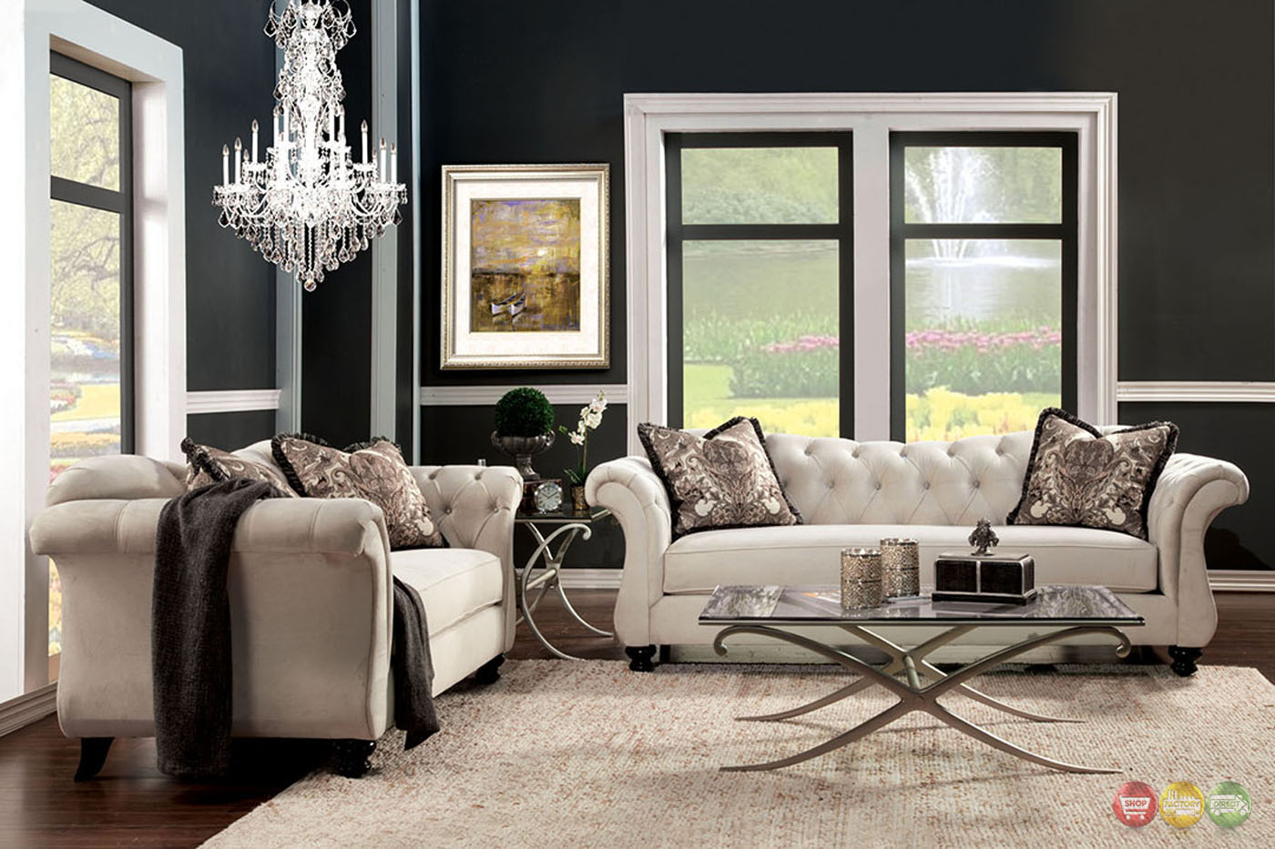 Antoinette Crystal Button Tufted Transitional Sofa Set
