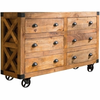 Antonelli 6-Drawer Rough Sawn Mango Wood Accent Cabinet