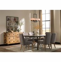 Antonelli Blue Stone Dining Table With Dark Antiqued Bronze Finish