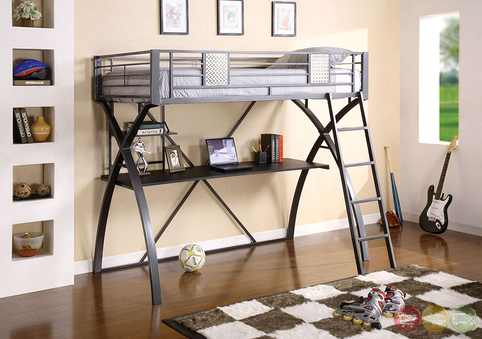 Apollo I Contemporary Gun Metal And Chrome Loft Bed With Workstation