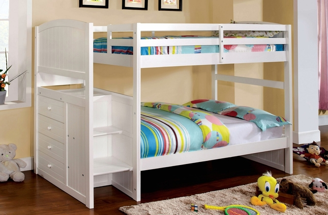 Appenzell White Bunk Bed with Built-in Drawers and Front Access Steps