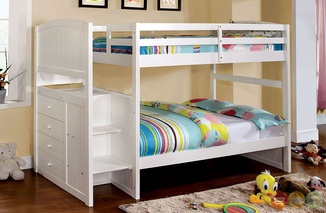 White Twin Bunk Beds with Stairs 1039 x 680