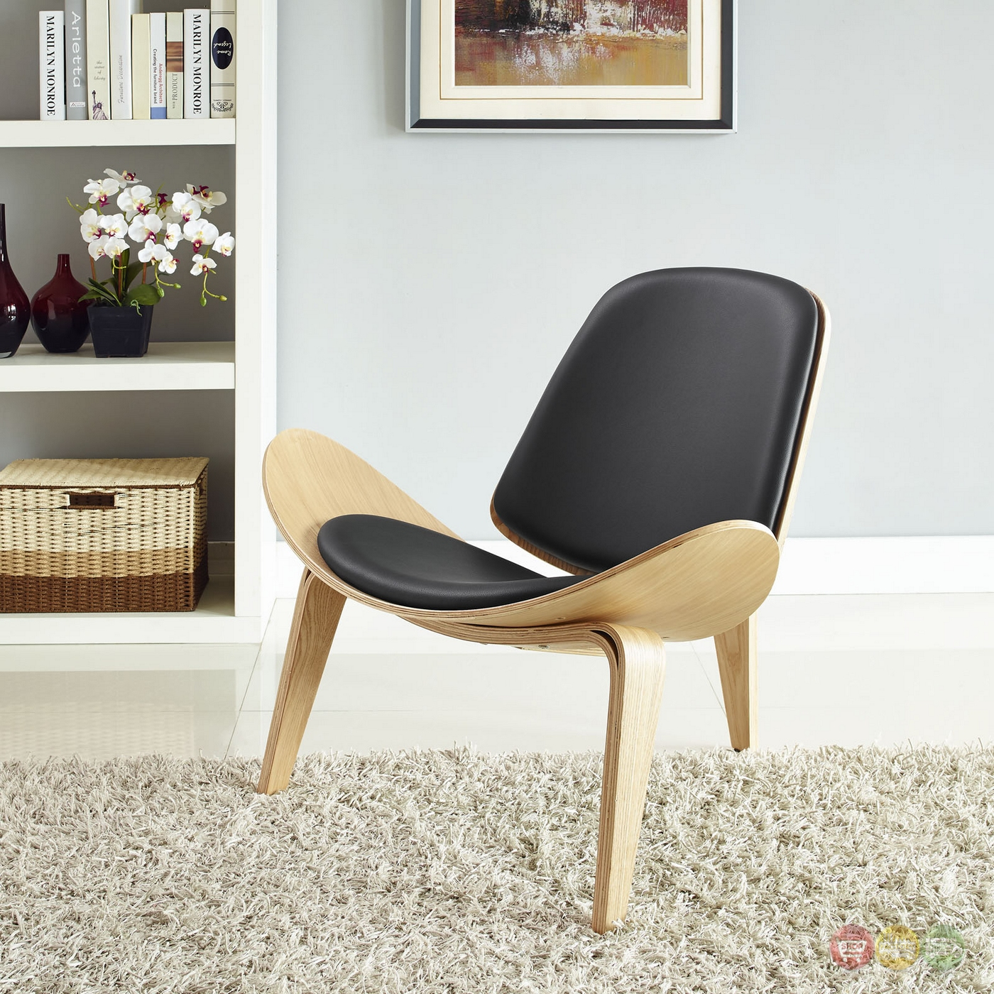 Arch Modernistic Lounge Chair Vinyl Padded Seat Oak Black. Full resolution‎  portraiture, nominally Width 1400 Height 1400 pixels, portraiture with #8D6F3E.