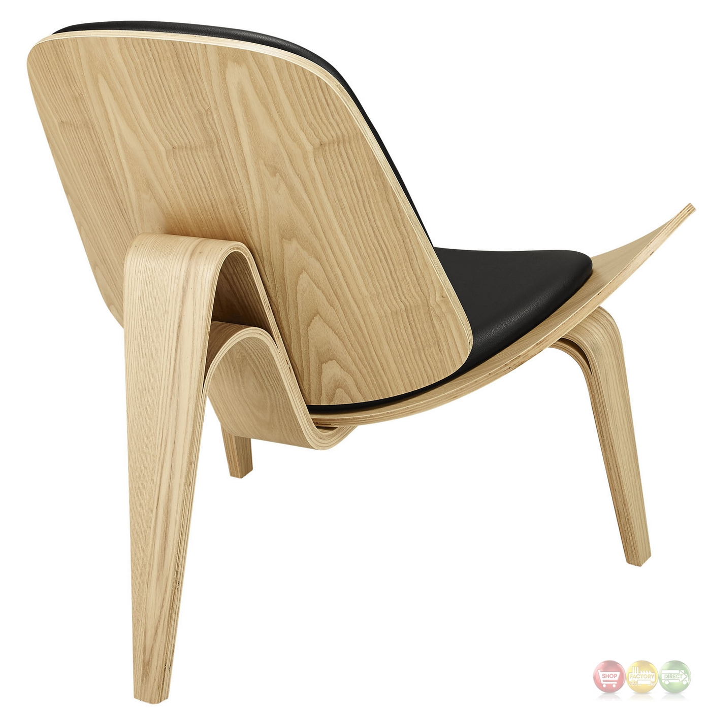 Arch Modernistic Lounge Chair Vinyl Padded Seat Oak Black. Full resolution‎  portraiture, nominally Width 1400 Height 1399 pixels, portraiture with #963537.