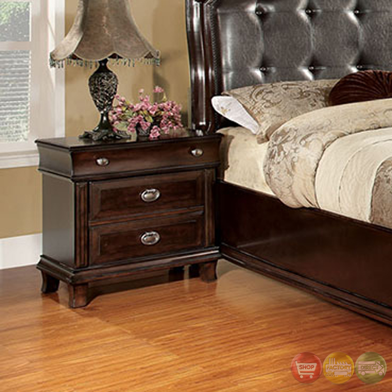 arden transitional espresso bedroom set with leatherette