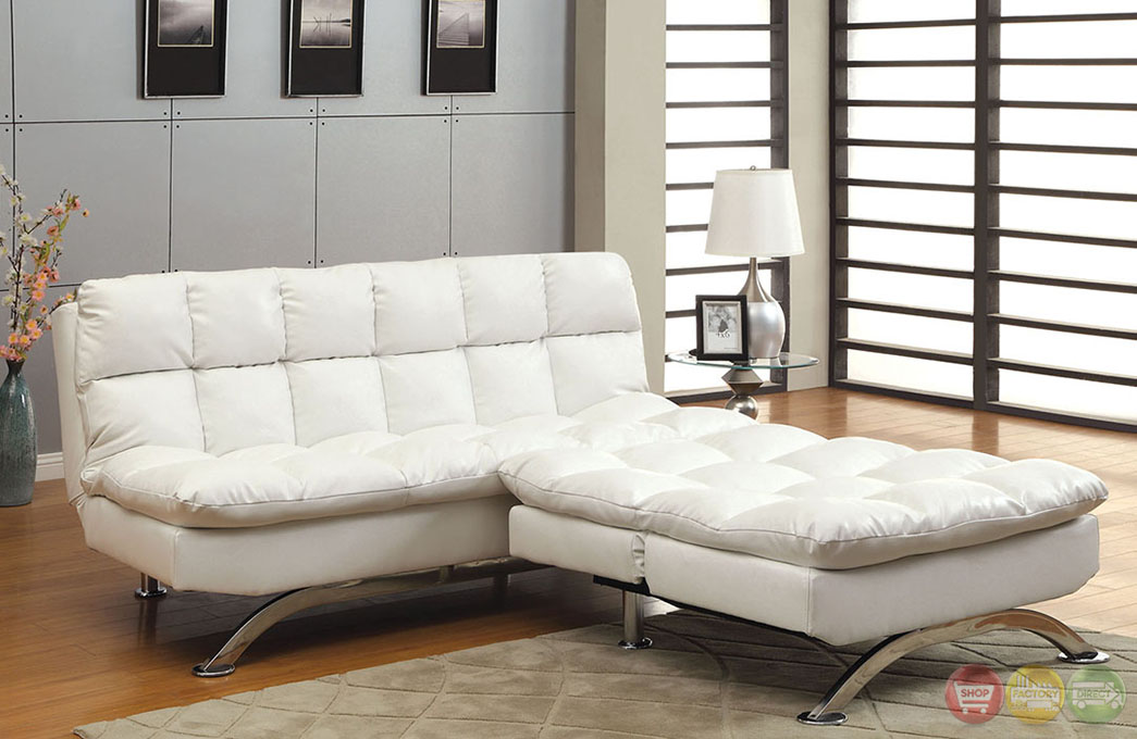 Aristo Contemporary White Sofa Set With Leatherette Seat
