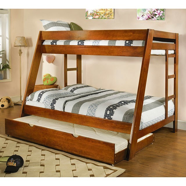 Arizona Oak Bunk Bed with Ladder on Both Sides