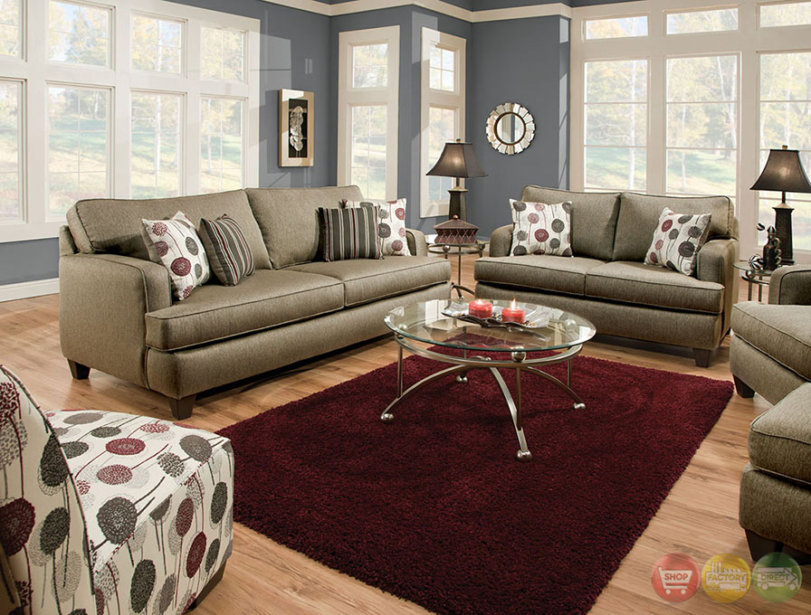Arman Contemporary Pewter Gray Living Room Set With Plush Cushions SM5066
