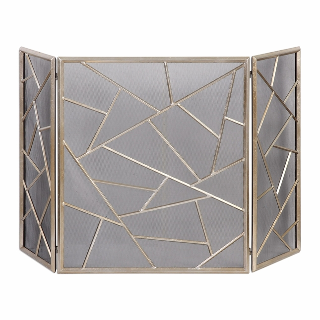 Armino Modern Geometric Patterned Iron Fireplace Screen In Antique Silver Finish