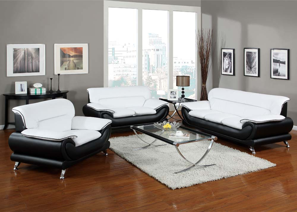 modern contemporary black white bonded leather living room sofa set