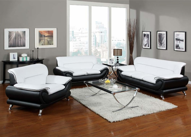 Orel Modern Contemporary Black & White Bonded Leather Living Room Sofa Set