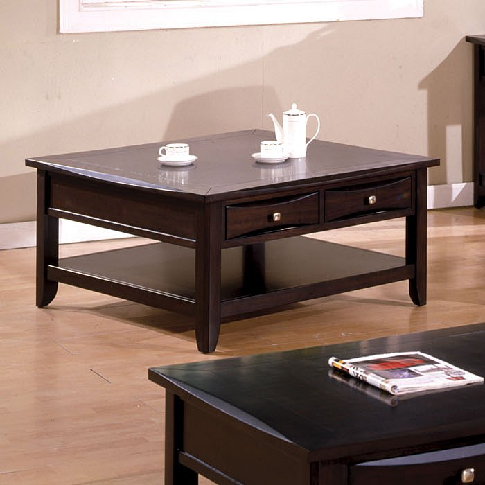 Arther Casual Dark Brown Beveled Square Coffee Table With